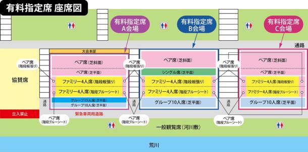 戸田橋花火大会の指定席座席図と付近のトイレの場所