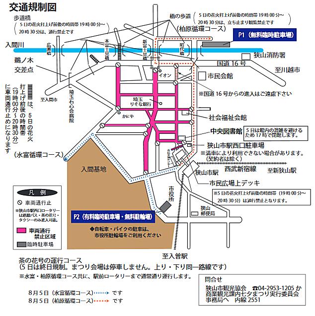 狭山市入間川七夕まつり納涼花火大会の駐車場案内図