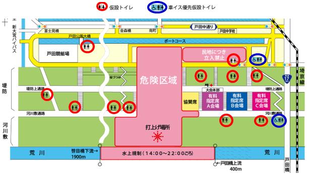 戸田橋花火大会のトイレの場所